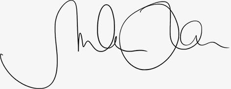 Schwungvolle Unterschrift von Marlene Kern in schwarz. Corporate Identity & Branding.