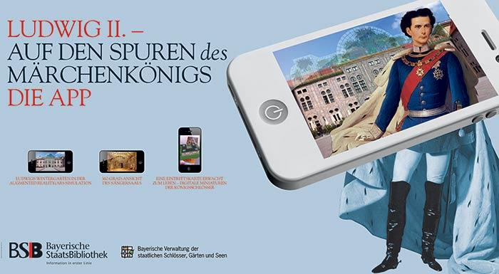 Messedesign. Sie sehen Messedesign ganz im Zeichen der App-Bewerbung »Ludwig II. – Auf den Spuren des Märchenkönigs«. Die Bayerische Staatsbibliothek München beauftragte uns damit, die Marketingmedien zur Bewerbung dieser innovativen App zu erstellen. Mit der Technik einer Fotocollage visualisierten wir eine Bildidee, die den Märchenkönig im Display eines iPhones zeigte. Dieses Motiv wurde zum Keyvisual für die Plakatgestaltung, Roll up, Informationsfolder, Anzeigen, u.a. Unsere Illustration fand auch Anklang beim Bayerischen Staatsministerium der Finanzen, das in unserer Visualisierung ein ideales Motiv für seinen CeBIT-Messestand sah. Adaptiert für diese großflächige Messepräsentation rückte unser Eyecatcher Bayerische Innovationsfreude in den Fokus. Gerne rücken wir auch Ihre unternehmerischen Stärken in den Fokus. Für ein unverbindliches Beratungsgespräch sind wir unter Tel. +49 172 890 84 90 gerne für Sie da.